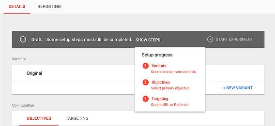google optimize ab testing step 2