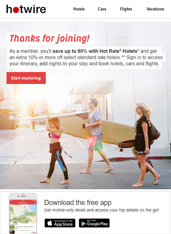 hotwire travel newsletter example