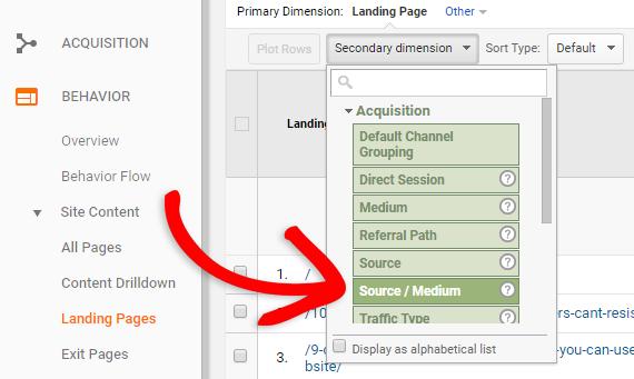 adding source / medium to landing page report