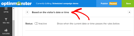 om display rules campaign scheduling