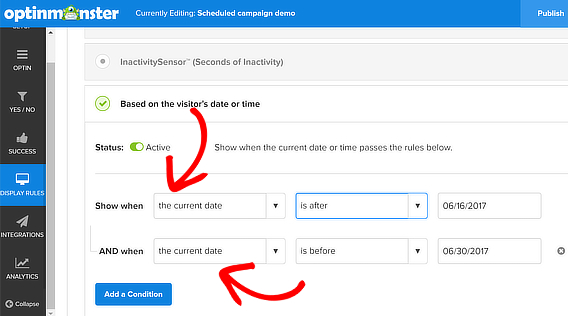 om campaign scheduling multiple rules