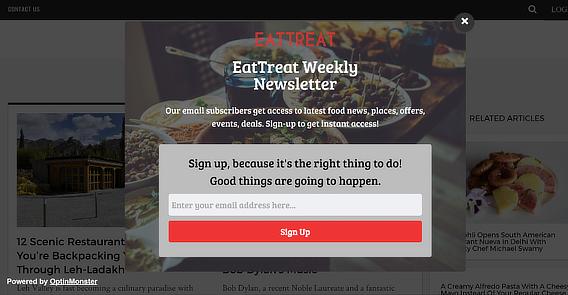 Eat-Treat holiday email marketing