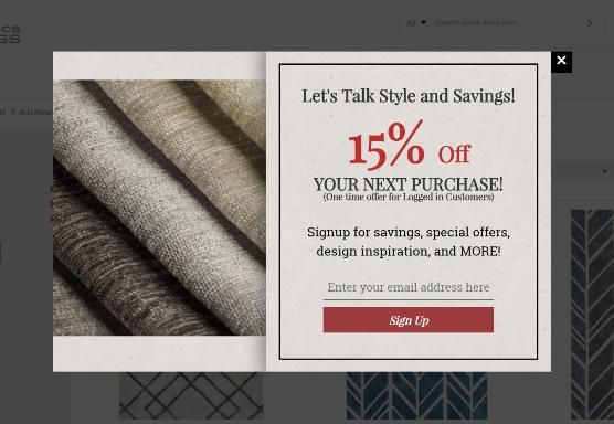 Home Fabrics Online Exit Intent Popup