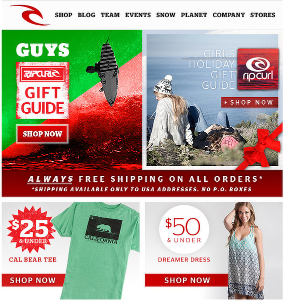 Rip-Curl-Holiday-Email marketing