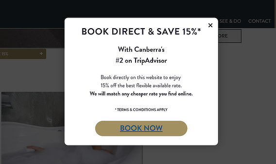 avenue hotel coupon popup