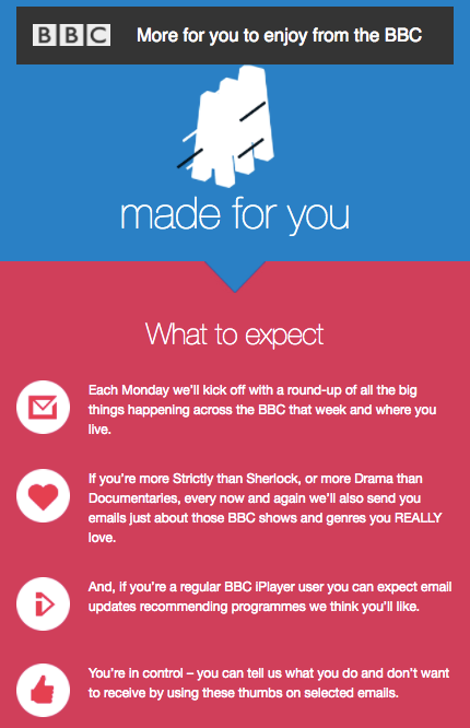 BBC has great welcome email marketing - they tell subscribers exactly what to expect
