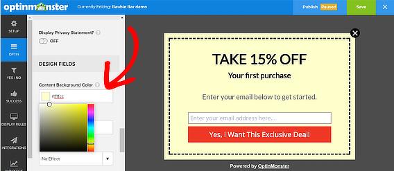coupon popup edit colors