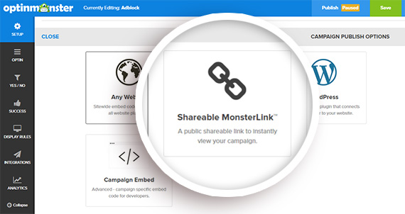 create a shareable monsterlink