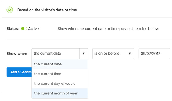 display coupon popup on certain date