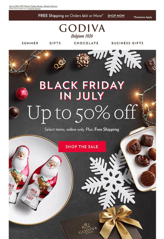 godiva holiday email marketing