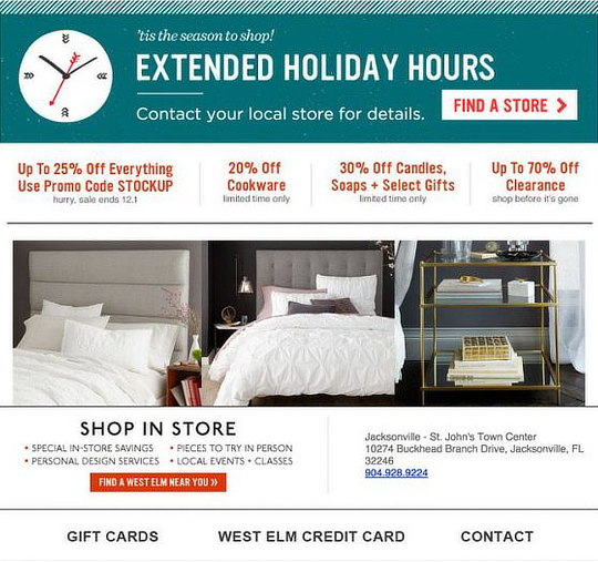 holiday email marketing -West-Elm footer