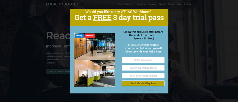By call to action a/b testing, Atlas Workbase discovered a free trial converted better than a tour.