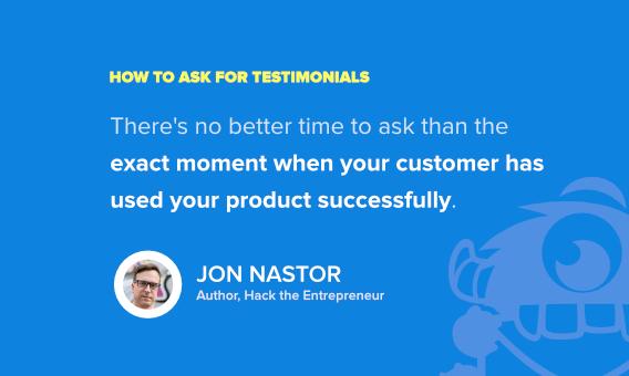 ask for client testimonials - jon nastor