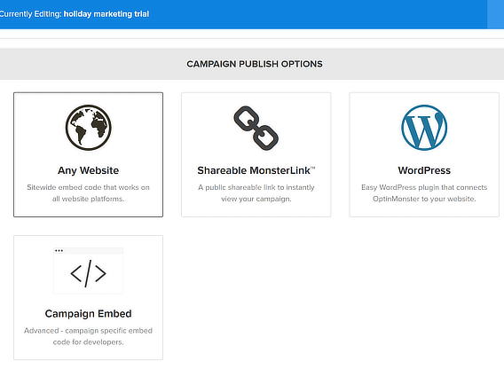 om publishing options