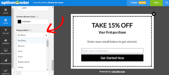 popup coupon display effects