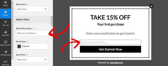 popup coupon email placeholder