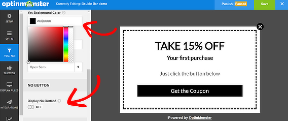 popup coupon no disabled color change