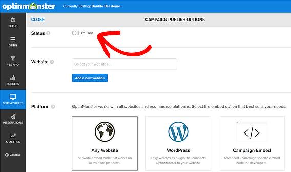 popup coupon publish status