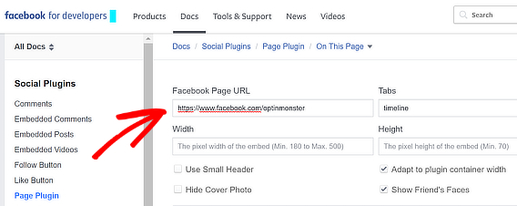 add facebook page URL for popup