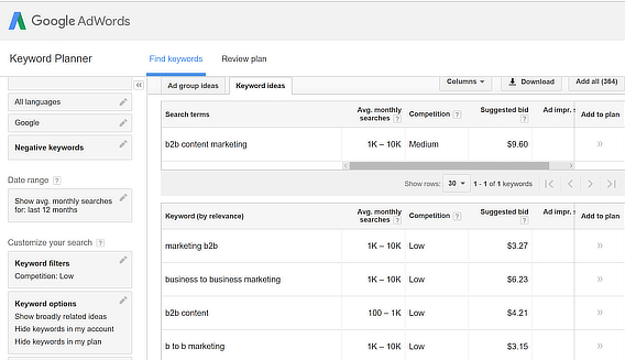 adwords keyword explorer results page