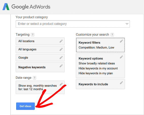 adwords keyword research customized save