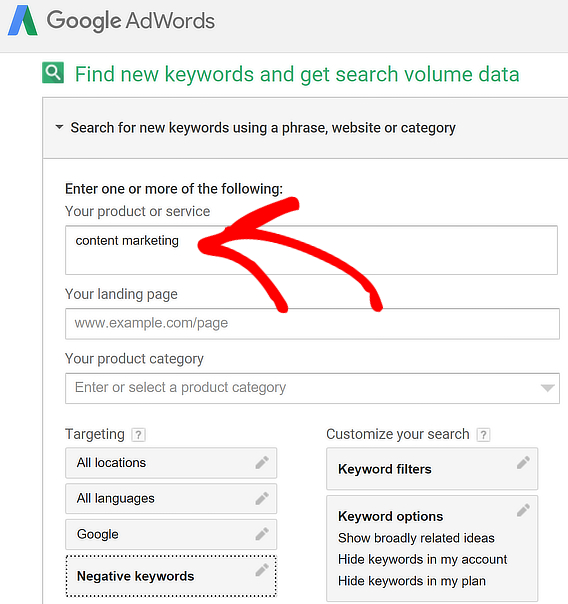 adwords keyword research tool enter phrase