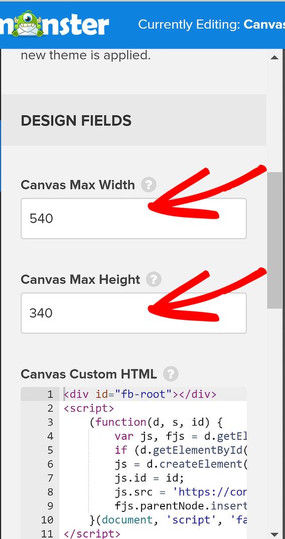 change canvas height width om