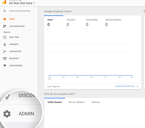Navigate to the Admin of your Google Analytics account to begin creating an event goal.