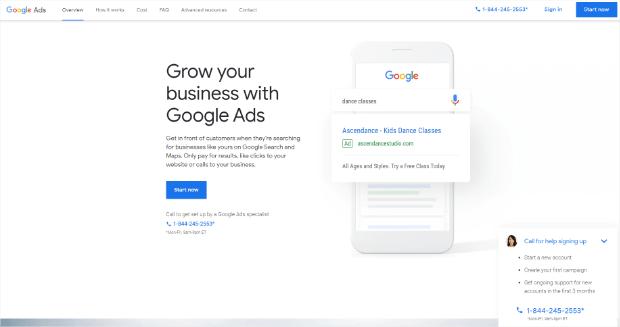 Google Ads Zielseite