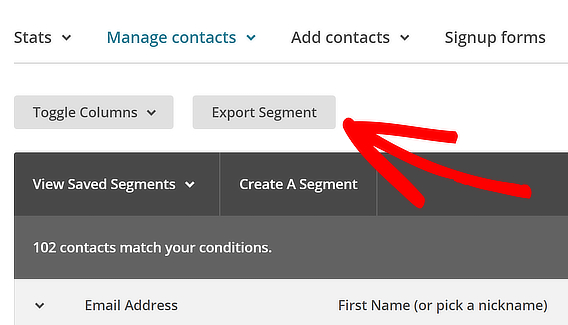 mailchimp export list
