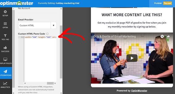 om custom html video popup
