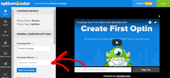 om video popup choose site