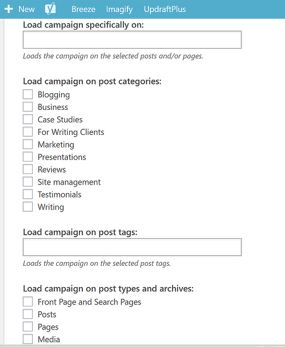 facebook box wordpress output settings options