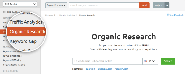semrush organic research