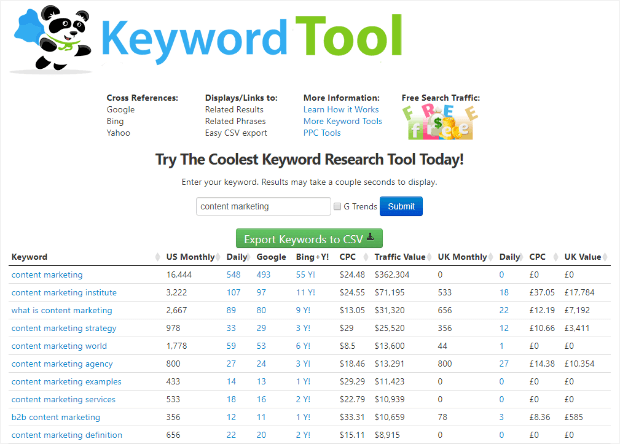 seobook keyword tool search results