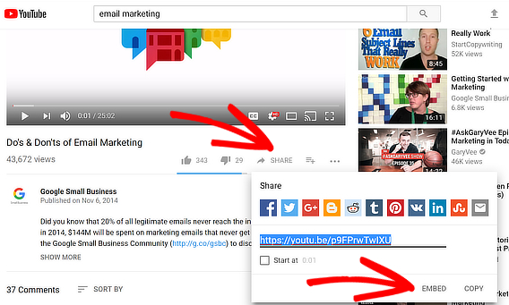 share embed youtube video popup