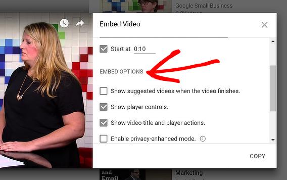 video popup plugin options