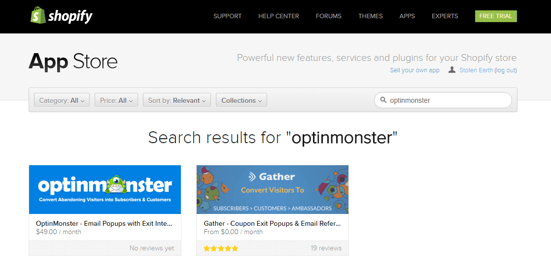 Search for OptinMonster in the Shopify App Store