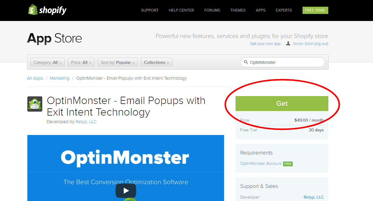 Search the Shopify App Store for OptinMonster