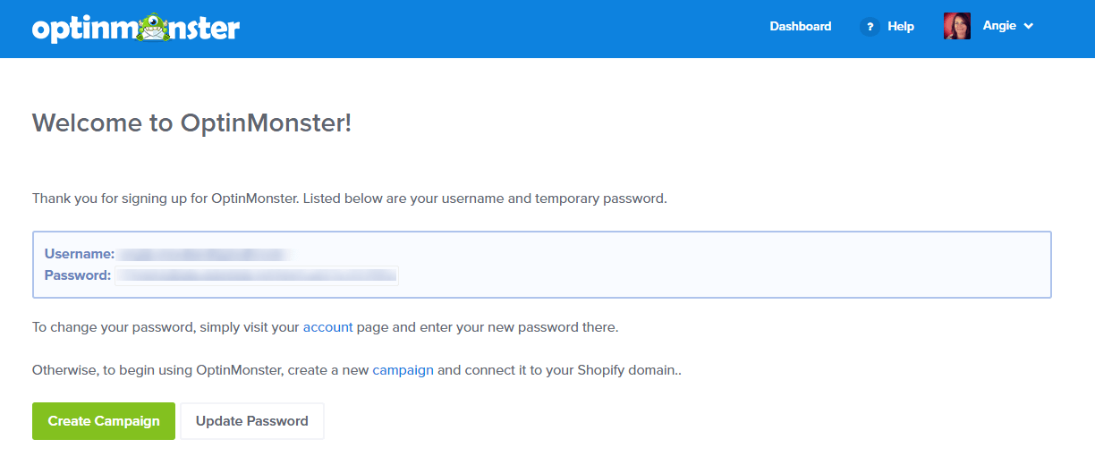 Login to Shopify using your temporary password