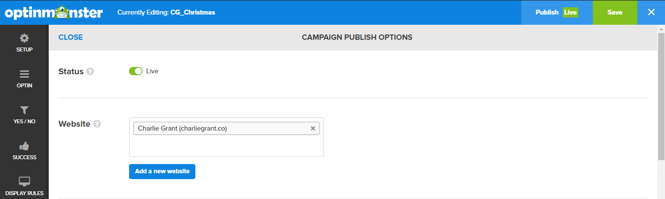 Toggle the campaign to live to publish it on your Shopify store.