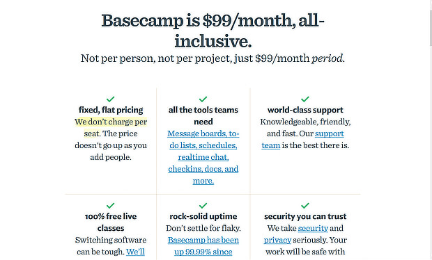 basecamp free trial pricing