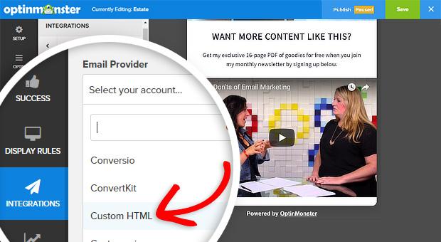 om select email custom html