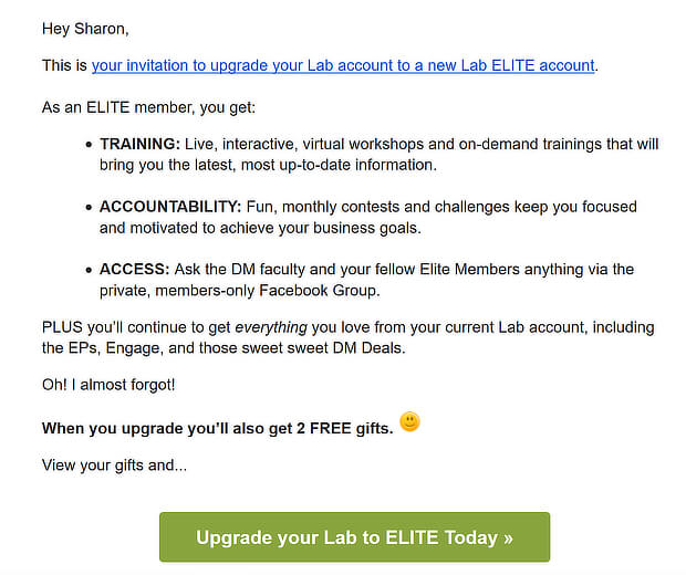 dm lab elite free trial ending email cta