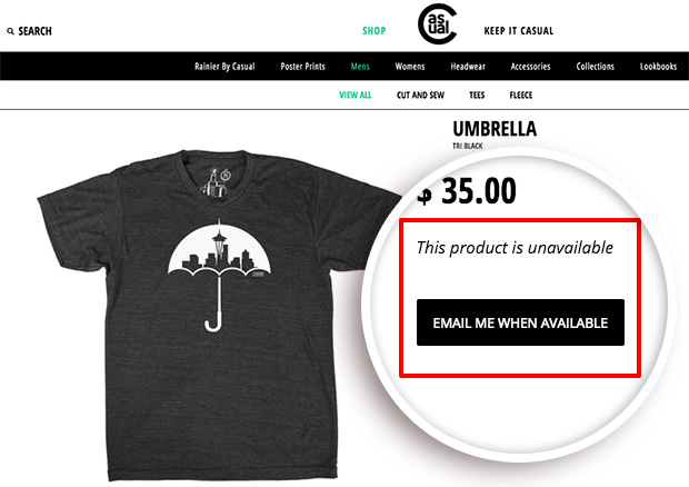 use ecommerce email marketing automation to notify customers when items are back in stock