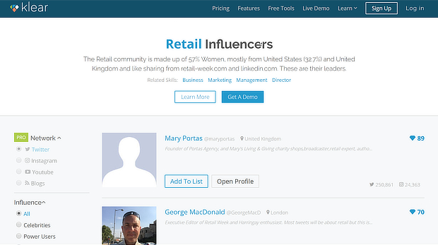 klear retail influencers