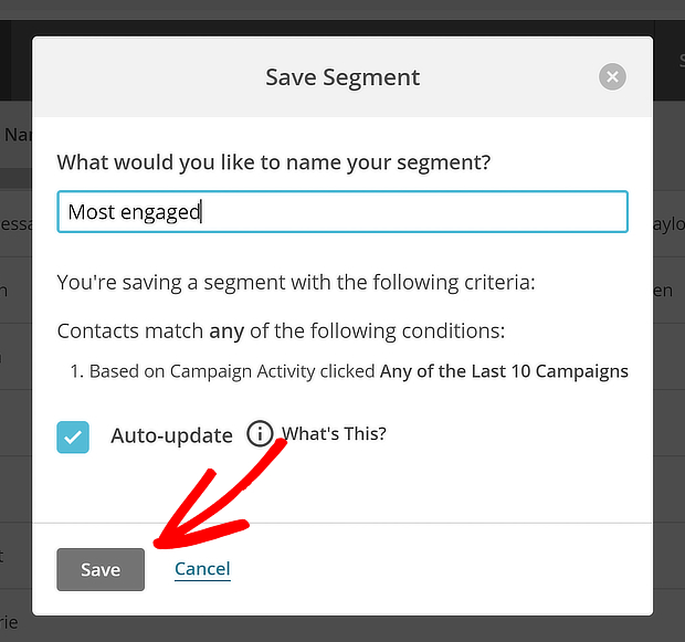 mailchimp save segment