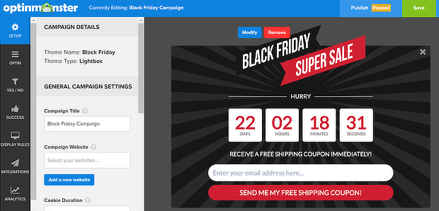 popup with countdown - om black friday default