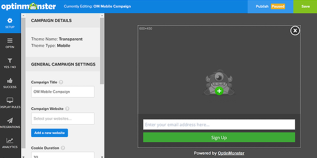 om campaign builder for wordpress popup