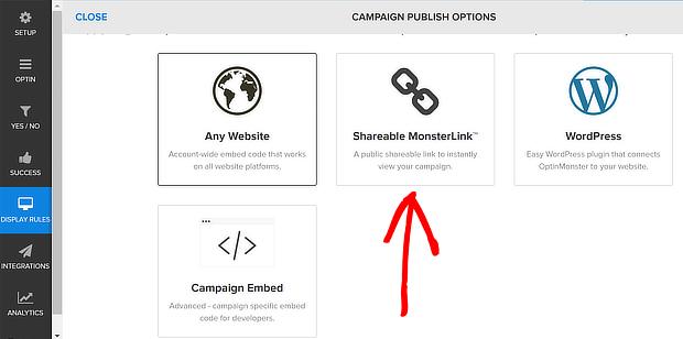 om publishing options - monsterlink